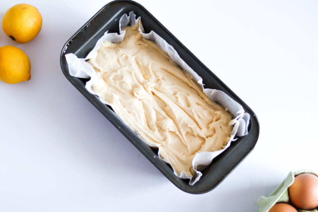 Pour the mixture into a loaf tin and bake in the oven.