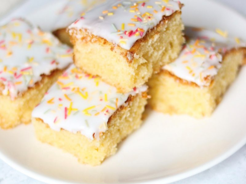 Old school cake cut into squares on a plate