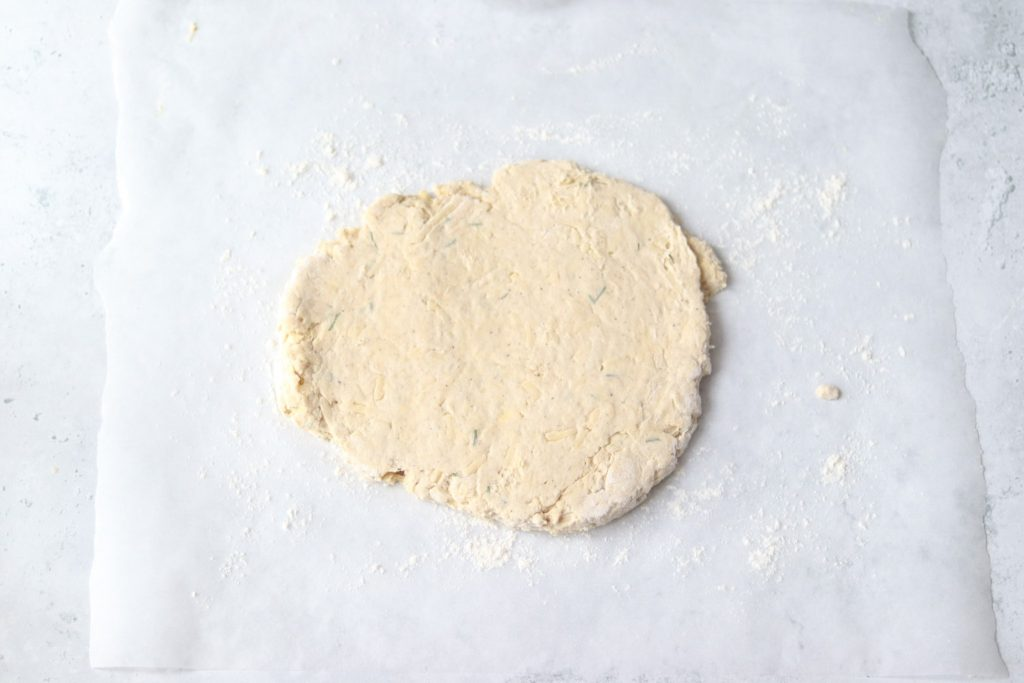 Roll out cheese scones dough