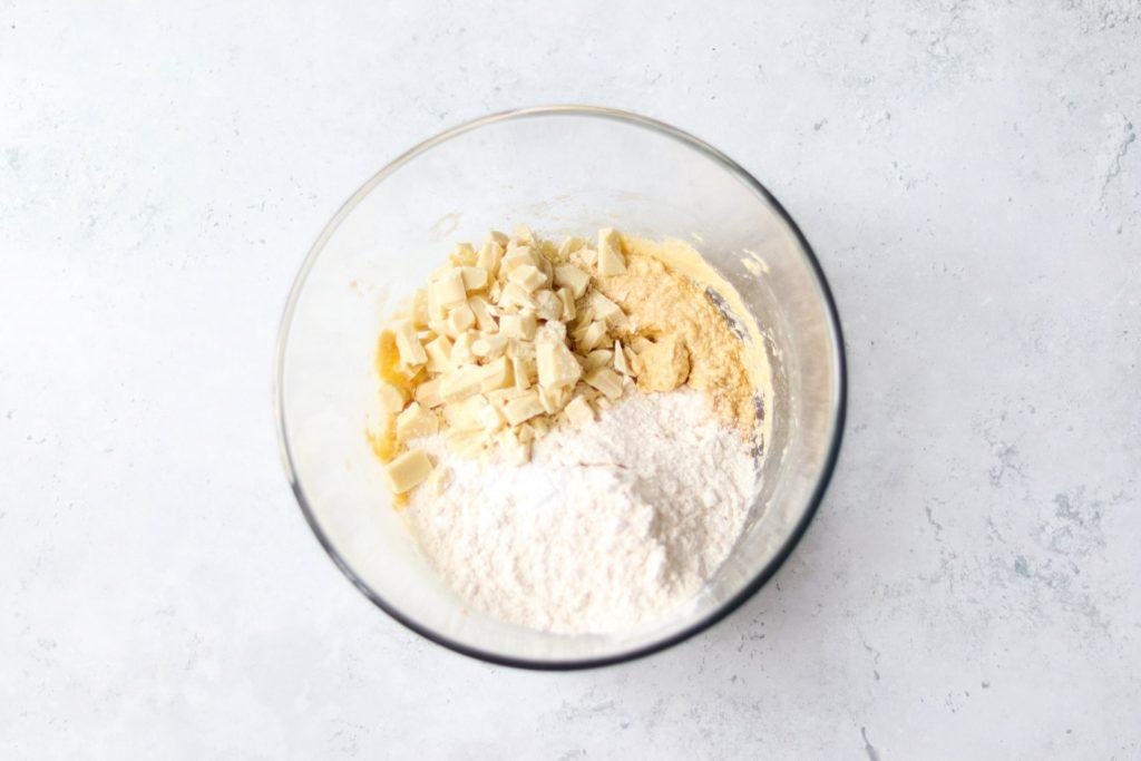Add plain flour and white chocolate chunks