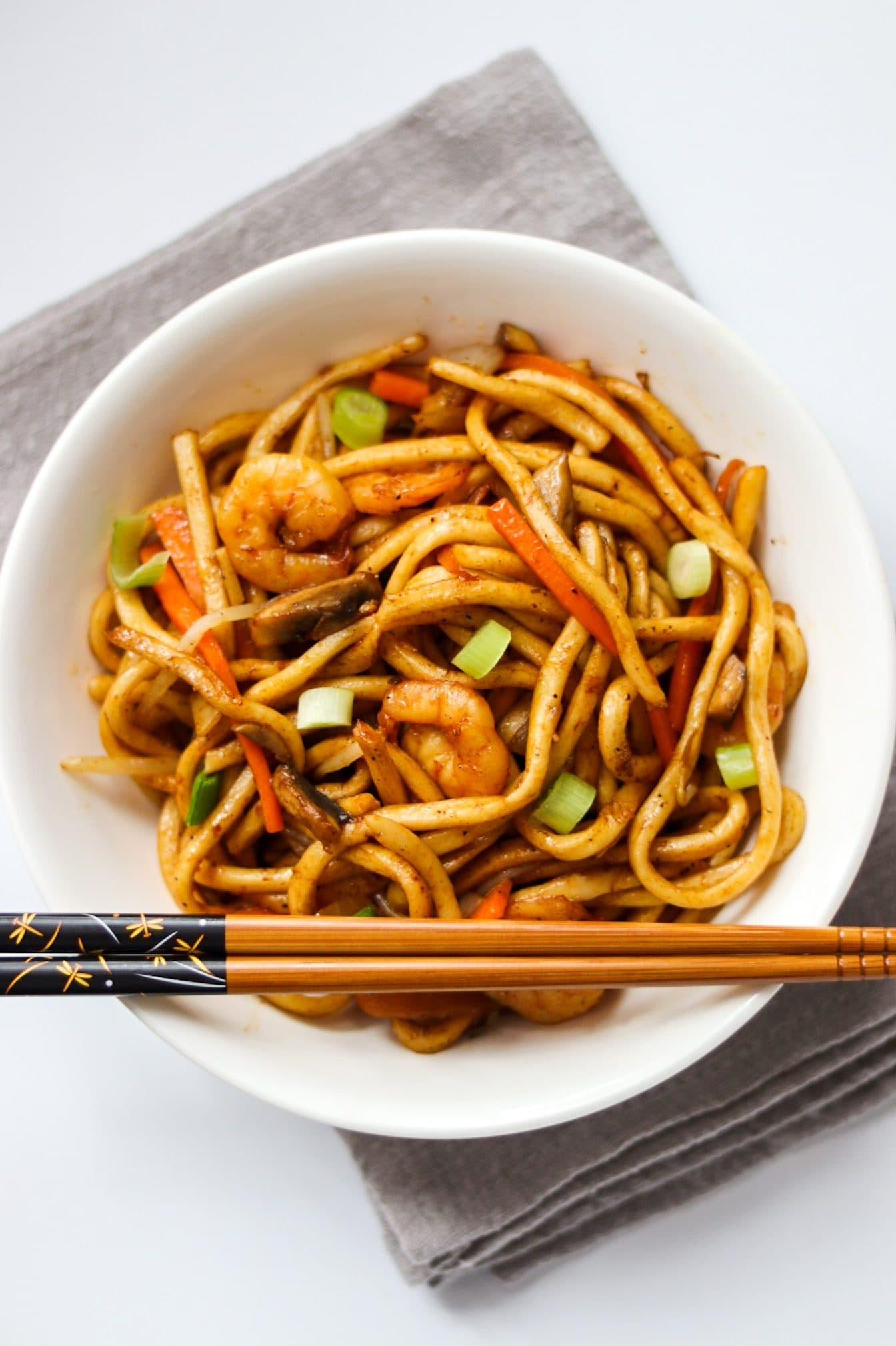 King prawn udon noodles with shrimp