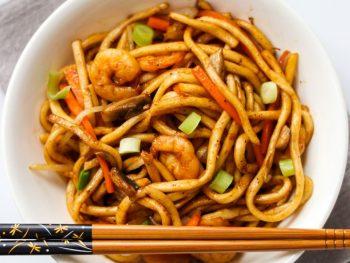 Yaki Udon Noodles With Shrimp Feature Image