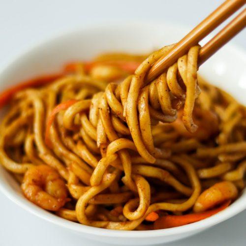 Yaki udon recipe with shrimp
